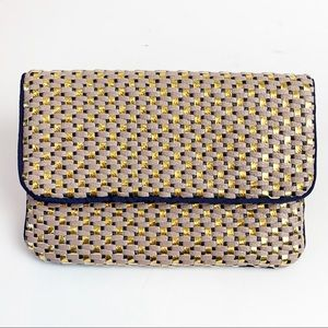 Deux Lux Vegan Multicolor Woven Fold-Over Clutch